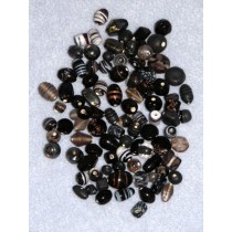 Black_Smoke Handblown Glass Bead Mix - 100 gr