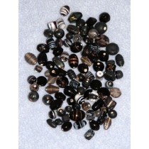 Black_Smoke Handblown Glass Bead Mix - 100 gr
