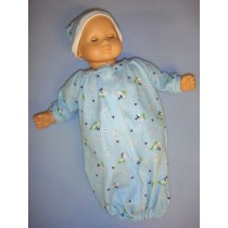 "Blue Preemie Gown for 14-16"" Dolls"