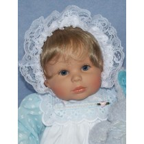 "Bonnet-White Flocked Dot 19-22"" Dolls"