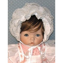 "Bonnet - 19"" Preemie Eyelet - White"