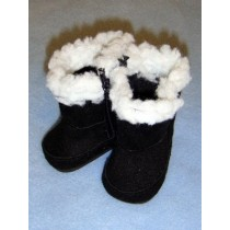 "Boot - 2 3_4"" Black Suede w_Sherpa Trim"