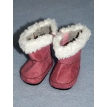 "Boot - 2 3_4"" Pink Suede w_Sherpa Trim"