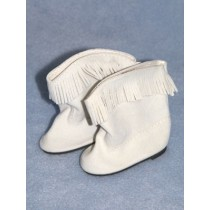 "Boot - Cowboy - 3"" White Suede w_Fringe"