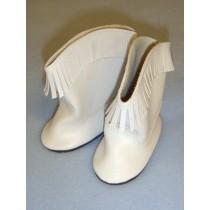 """Boot - Cowboy - 3"""" White w_Fringe"""