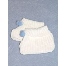 "Slipper - Booties - 11""-15"" White_Blue w_Pom Poms"