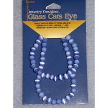 Cats Eye Bead Strands - 6mm Blue 12