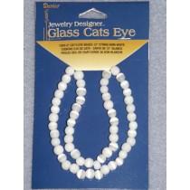 "Cats Eye Bead Strands - 6mm White 12"""