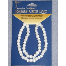Cats Eye Bead Strands - 6mm White 12""