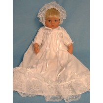"Christening Gown & Bonnet -17"" Doll"