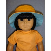 "Dark Orange & Blue Reversible Bucket Hat for 18"" Doll"