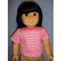 "Dark Pink & White Striped T-Shirt for 18"" Dolls"