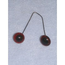 Glass Eye on Wire - 16mm Deep Amber