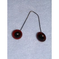 Glass Eye On Wire - 6mm Deep Amber