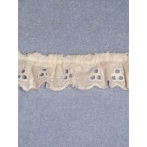 "Eyelet - Gathered - 1"" Ecru - 10 yd pkg"