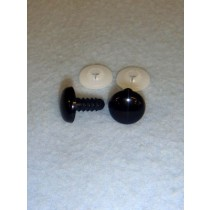 Flat Acrylic Solid Black Eyes - 12mm Pkg_100