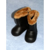 "|Furry Winter Boots 3"" Black"