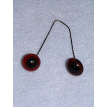Glass Eye on Wire - 8mm Deep Amber
