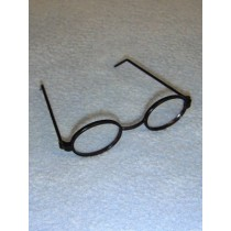 "|Glasses - Oval - 3"" Black"