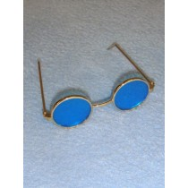 "Glasses - Round - 3"" Gold Wire w_Blue Lens"