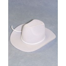 "Hat - Flocked Cowboy - 3"" White"