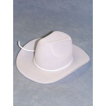 "|Hat - Flocked Cowboy - 7"" White"