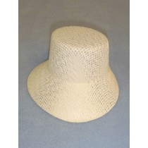 "Hat - Straw Bonnet - 5 1_2"" White"