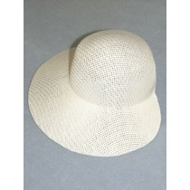 "Hat - Straw Bonnet - 9 1_4"" White"