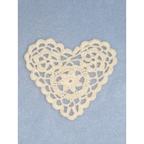 "Heart Shaped Doily - 4"" Ecru"