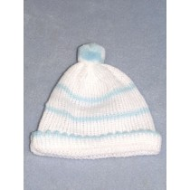 "Knit Baby Cap - 10"" White & Blue"