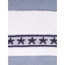 Knit Trim - White w_Navy Stars