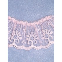 "Lace - Gathered - 2"" Pink - 10 yd pkg"
