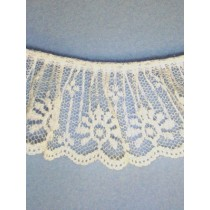 "Lace - Gathered - 2"" White - 10 yd pkg"