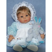 "Lt. Blue Dress w_Eyelet & Braid Trim for 19"" to 22"" dolls"