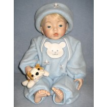 "Light Blue Fleece Outfit - 21"" Doll"