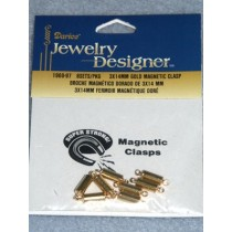 Magnetic Jewelry Clasps - 3mm x 14mm Gold - Pkg_8