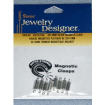 Magnetic Jewelry Clasps - 3mm x 14mm Silver - Pkg_8