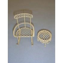 Mini Iron Fairy Garden Rocking Chair & Table - Cream