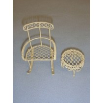 Mini Iron Fairy Garden Rocking Chair & Table - Cream