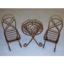 Mini Iron Fairy Garden Table & Chairs - Rustic
