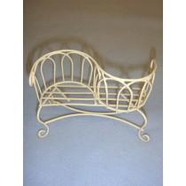 Mini Iron Fairy Garden Two-Seat Bench - Cream