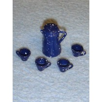 Miniature Blue Coffee Pot & Cups