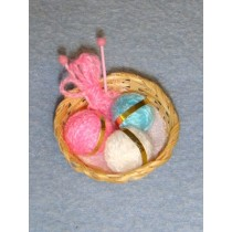 Miniature Knitting Basket w_Yarn
