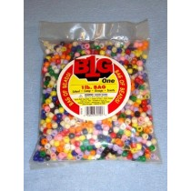 Multi Opaque Pony Beads 9mm 1 lb