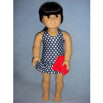 "|Navy Polka Dot Swimsuit & Towel for 18"" Dolls"