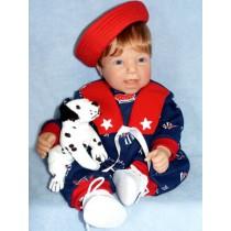 "Navy Print Sailor Romper - 19""-22"" Doll"