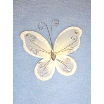 """Organza Butterflies- 3"""" Ivory Pkg_12"""