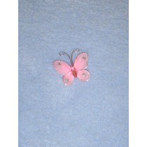 "Organza Butterflies - 1"" Light Pink Pkg_12"