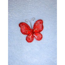 "Organza Butterflies - 2"" Red Pkg_12"