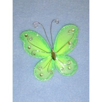 "Organza Butterflies - 3"" Apple Green Pkg_12"